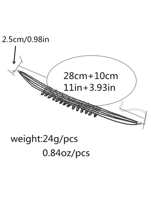 online Beaded Choker Necklace - BLACK  Mobile