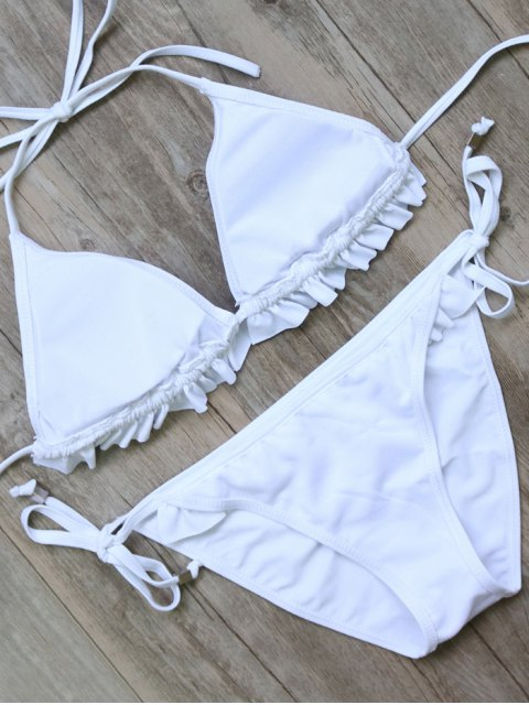 best String Double Side Ruffles Bikini Set - WHITE S Mobile