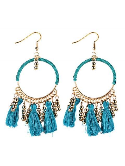 lady Geometrical Bohemian Tassel Circle Drop Earrings - BLUE  Mobile