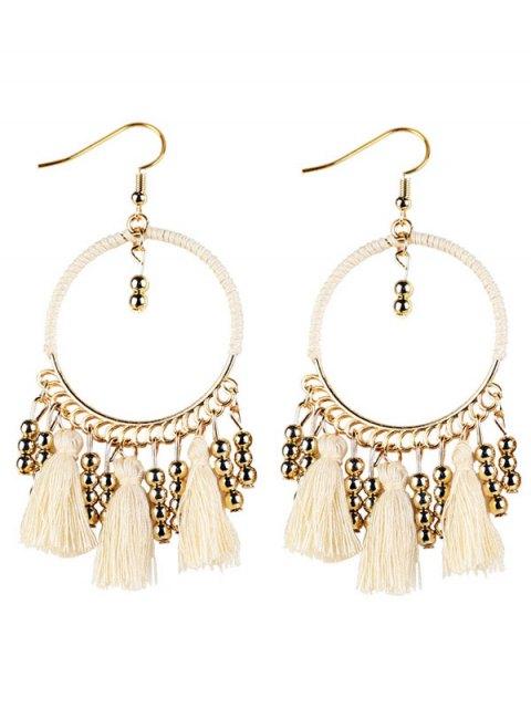 best Geometrical Bohemian Tassel Circle Drop Earrings - WHITE  Mobile