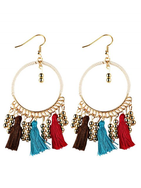 online Geometrical Bohemian Tassel Circle Drop Earrings - BROWN  Mobile