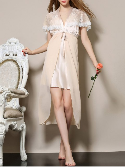 hot Plunging Neck Satin and Lace Babydoll - APRICOT M Mobile