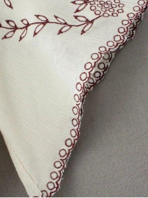 shop Linen Embroidered Surplice Blouse - WHITE L Mobile