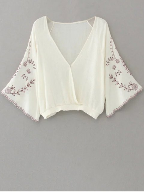 latest Linen Embroidered Surplice Blouse - WHITE S Mobile