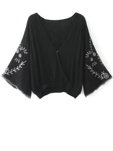 trendy Linen Embroidered Surplice Blouse - BLACK L Mobile