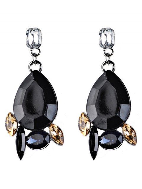 new Artificial Gems Embellished Water Drop Dangle Earrings - BLACK  Mobile