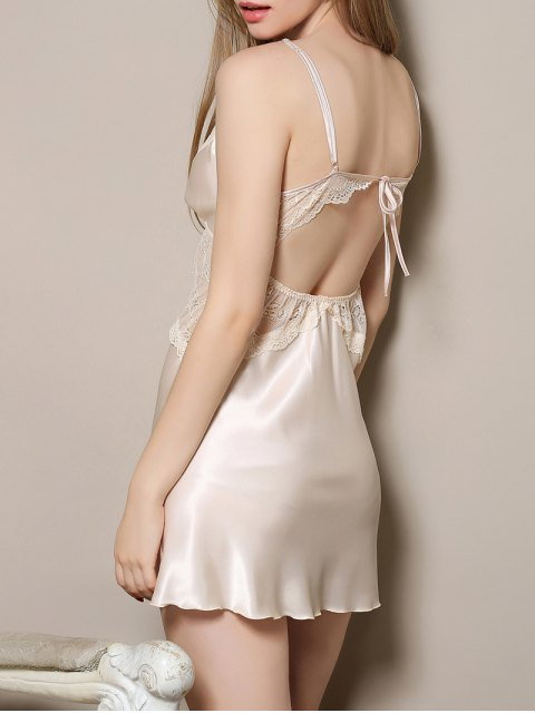 shop Cut Out Satin and Lace Cami Babydoll - APRICOT M Mobile