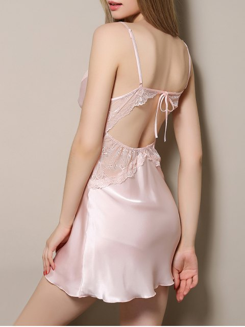 unique Cut Out Satin and Lace Cami Babydoll - LIGHT PINK XL Mobile