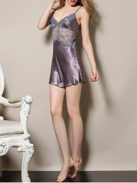 women's Cut Out Satin and Lace Cami Babydoll - LIGHT PURPLE XL Mobile