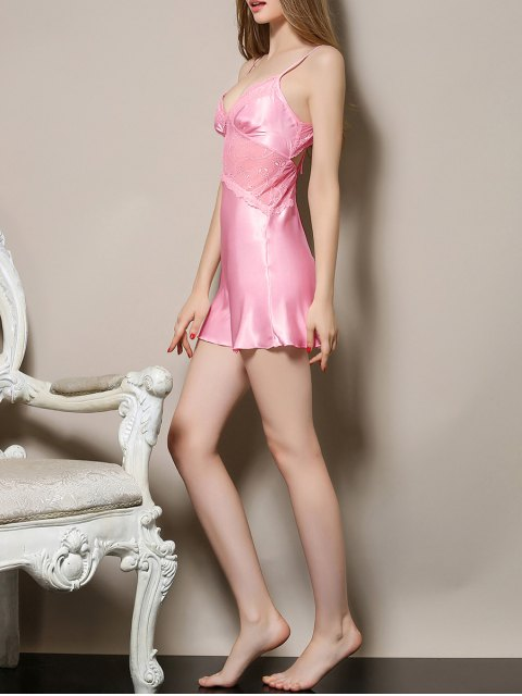 trendy Cut Out Satin and Lace Cami Babydoll - PINK M Mobile