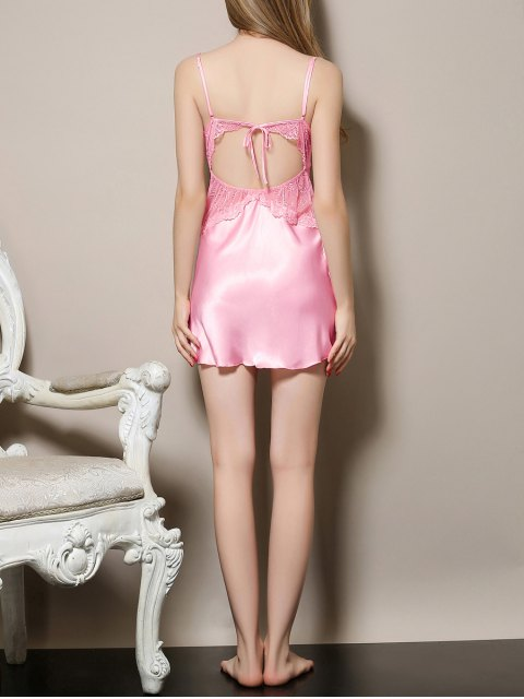 latest Cut Out Satin and Lace Cami Babydoll - PINK L Mobile