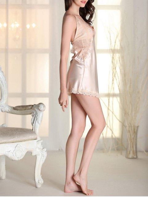 shops Satin Lace Panel Backless Babydoll - APRICOT L Mobile