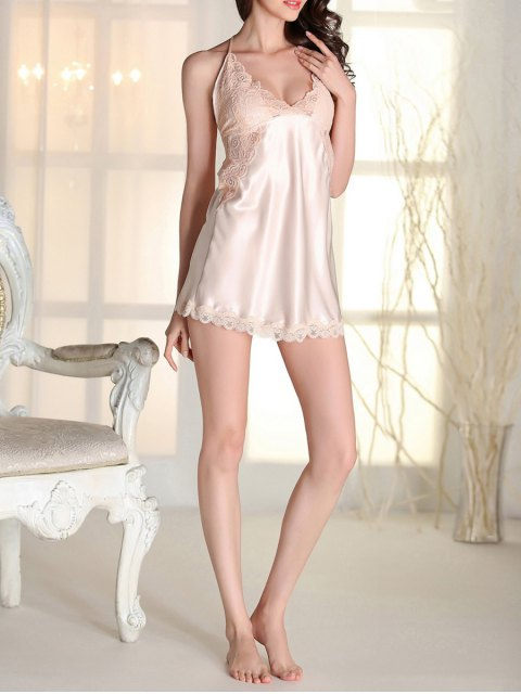 shop Satin Lace Panel Backless Babydoll - APRICOT XL Mobile