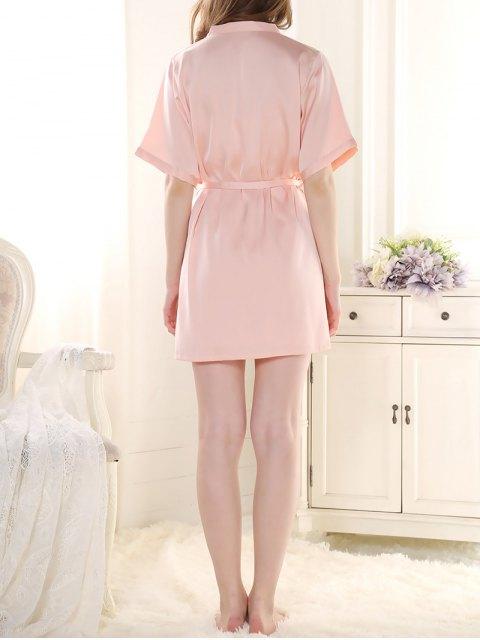 fashion Satin Babydoll with Kimono Cardigan - PINK L Mobile