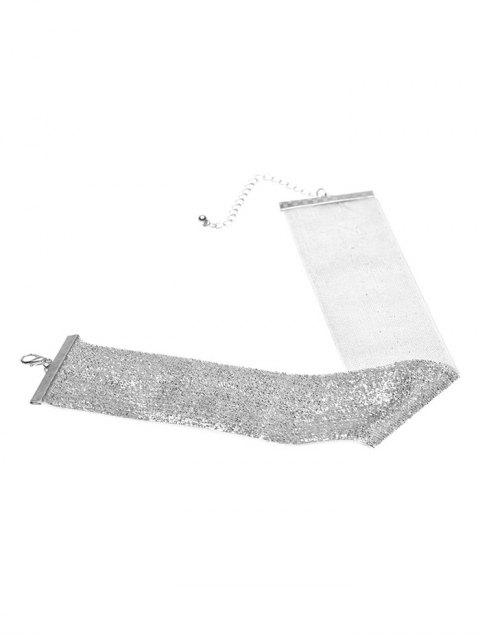 trendy Adorn Velvet Vintage Choker Necklace - SILVER  Mobile