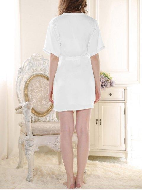 fancy Satin Babydoll with Kimono Cardigan - WHITE XL Mobile