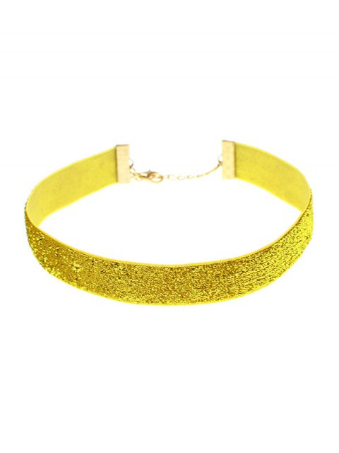 fashion Adorn Velvet Vintage Choker - GOLDEN  Mobile