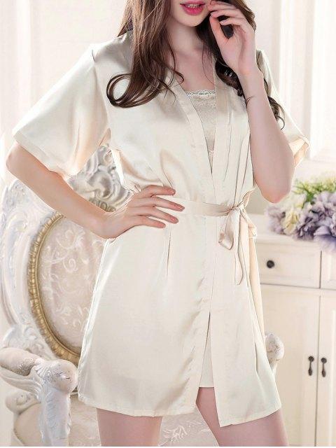 women Satin Babydoll with Kimono Cardigan - APRICOT XL Mobile