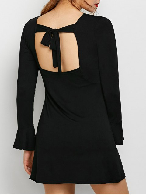 affordable Flare Sleeve Cut Out Dress - BLACK S Mobile