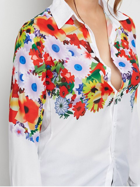 women's Fitting Floral Print Shirt - WHITE XL Mobile