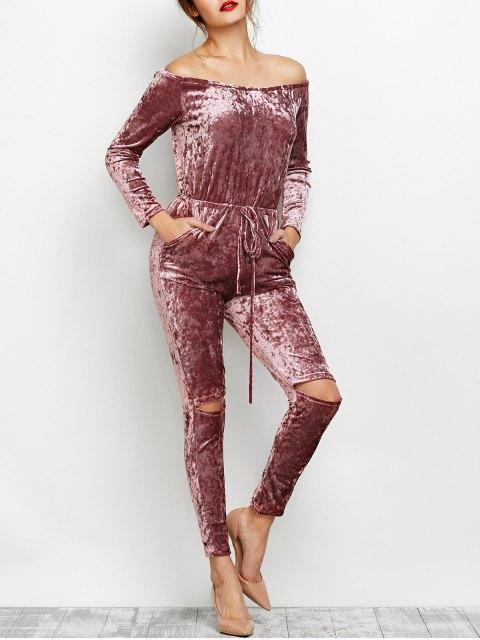 outfits Ripped Off Shoulder Velvet Jumpsuit - BEGONIA XL Mobile