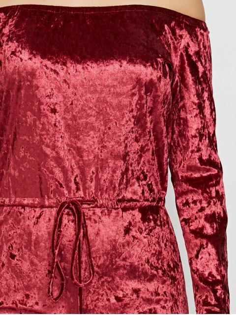 trendy Ripped Off Shoulder Velvet Jumpsuit - WINE RED XL Mobile