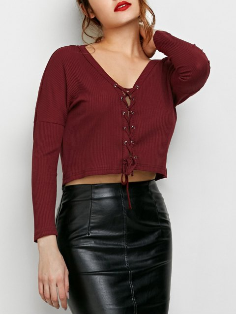 ladies Lace Up Ribbed Cropped Cardigan - BURGUNDY L Mobile