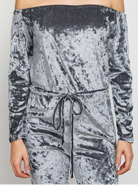 womens Ripped Off Shoulder Velvet Jumpsuit - GRAY XL Mobile