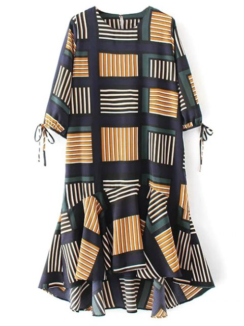 new Checked Ruffle Hem Midi Dress - MULTICOLOR L Mobile