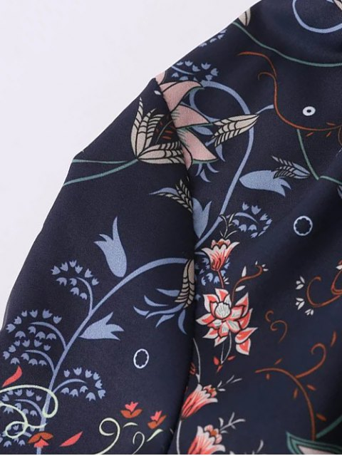 sale Frilled Tie Neck Floral Print Blouse - PURPLISH BLUE M Mobile