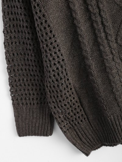 Relaxed Open Cable Knit Sweater - TAUPE ONE SIZE Mobile