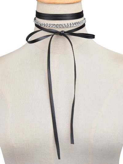 Faux Leather Wrap Choker - SILVER  Mobile