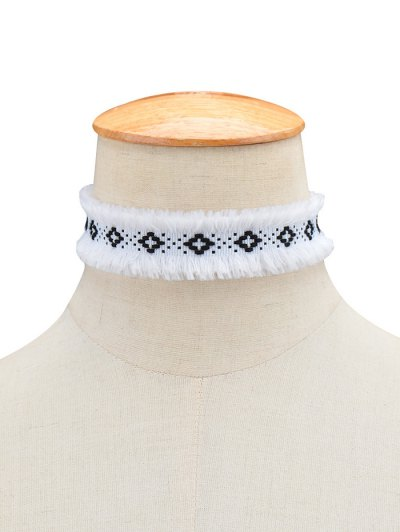 Woven Fringed Choker Necklace - WHITE  Mobile