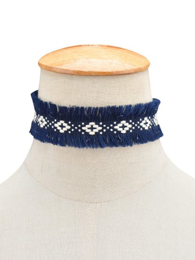 Woven Fringed Choker Necklace - BLUE  Mobile