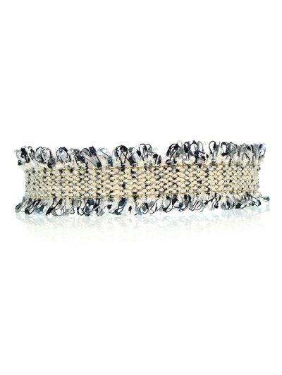 Knitted Fringed Choker - BLACK  Mobile