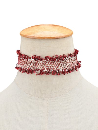Knitted Fringed Choker - WINE RED  Mobile