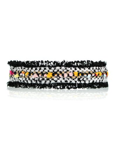Fuzzy Knitted Fringed Choker - BLACK  Mobile