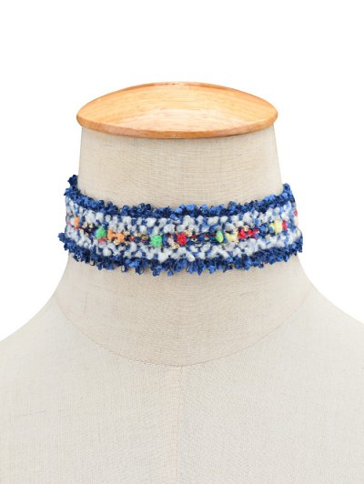 Fuzzy Knitted Fringed Choker - BLUE  Mobile