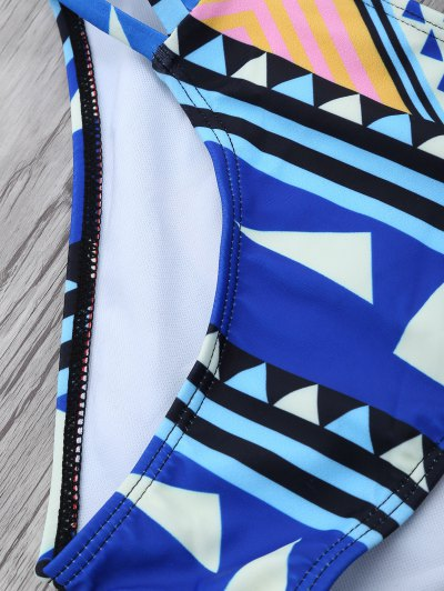 Geometric Pattern Strappy Bikini - BLUE L Mobile