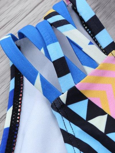 Geometric Pattern Strappy Bikini - BLUE S Mobile