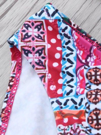 Patterned Lace Up Bikini Set - COLORMIX M Mobile