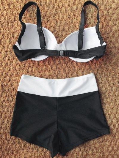 Two Tone High Waisted Bikini Set - WHITE AND BLACK S Mobile