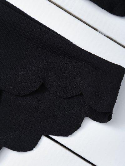 Scalloped Halter Bikini Set - BLACK L Mobile