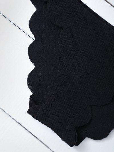 Scalloped Halter Bikini Set - BLACK M Mobile