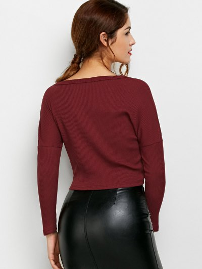Lace Up Ribbed Cropped Cardigan - BURGUNDY L Mobile