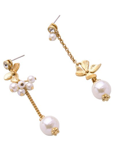 Rhinestone Faux Pearl Flower Asymmetric Earrings - GOLDEN  Mobile