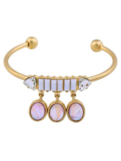 Faux Gem Oval Cuff Bracelet - GOLDEN  Mobile