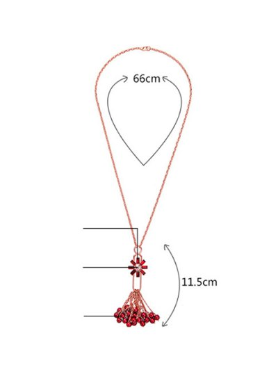 Flower Fringed Beads Rhinestone Sweater Chain - RED  Mobile
