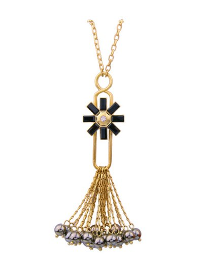 Flower Fringed Beads Rhinestone Sweater Chain - BLACK  Mobile