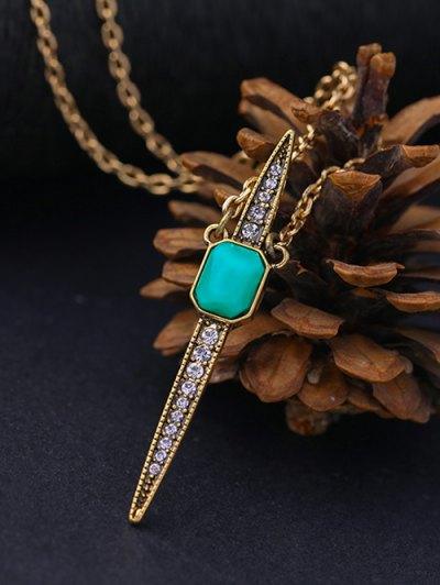 Vintage Rhinestone Necklace - GREEN  Mobile